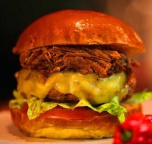 Burger and Pulled Pork in Brioche Bun